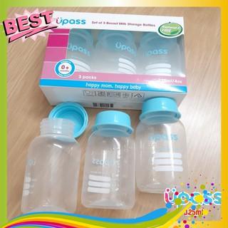 Bộ 3 Bình trữ sữa Upass (125ml/ bình) – cất trữ sữa tiện lợi cho mẹ và bé