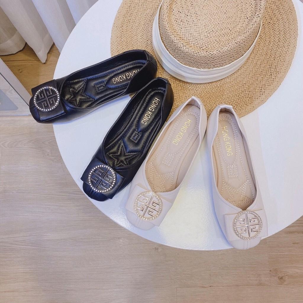 Giày búp bê nữ nơ khuy giày mọi giày bệt công sở đi làm đi chơi chất liệu da G01 Kèm CLIP và ẢNH THẬT