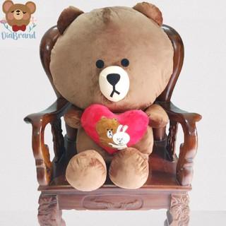 Gấu Bông Line Brown Ôm Trái Tim Khổ 1m4 Cao 1m2 Màu Nâu [ Diabrand ]