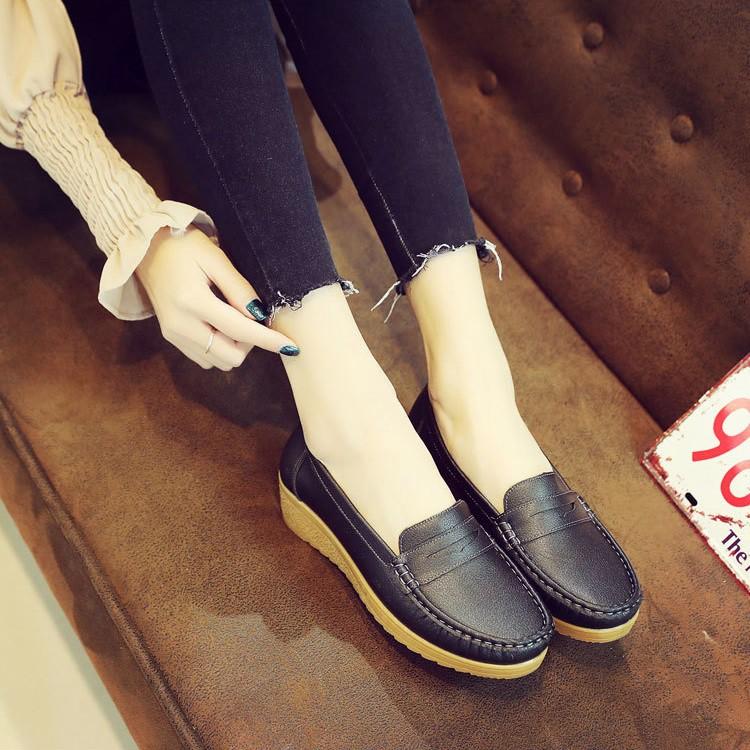 Giày Lười Nữ Giày Moca Nữ Đế Độn Da Mềm Cao Cấp - Giày mọi nữ siêu êm