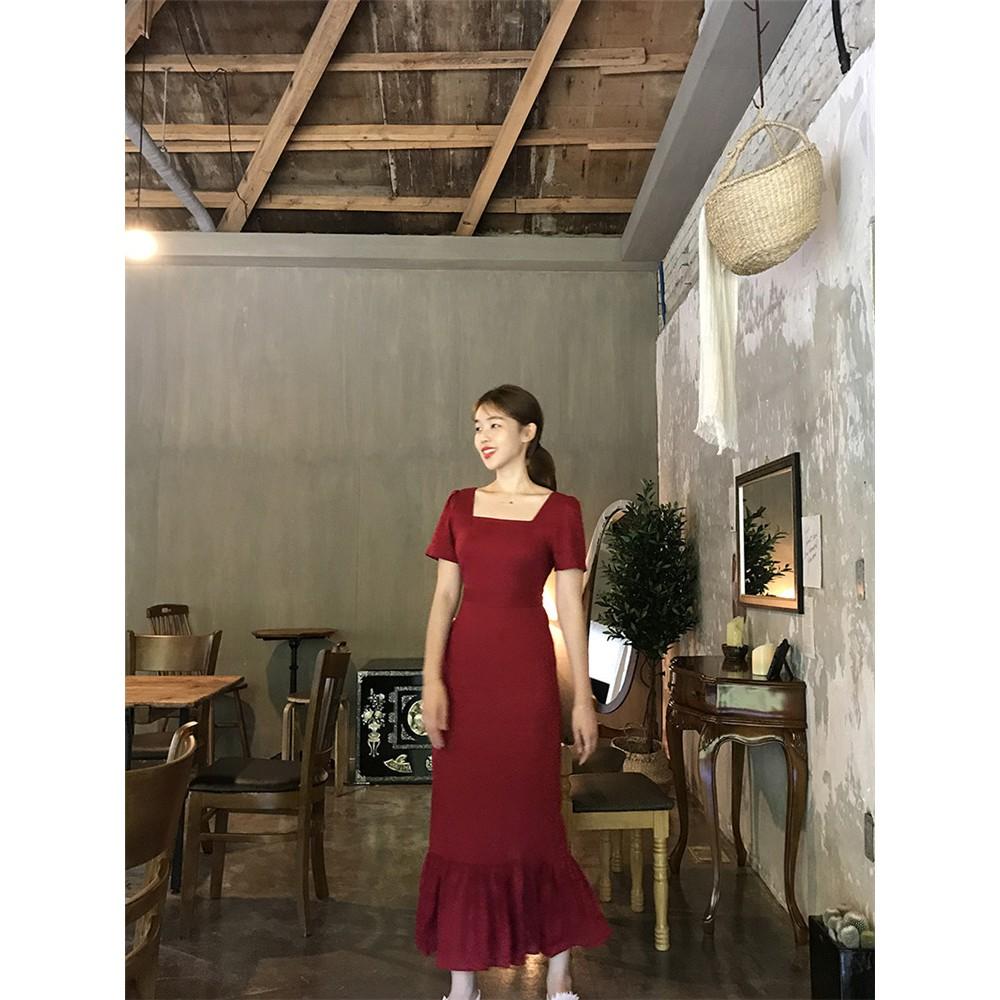 1449231866 - Order, mã sp: D29086, đầm Hàn Quốc chic, retro lady cổ vuông dây cột eo ngắn tay, xẻ tà