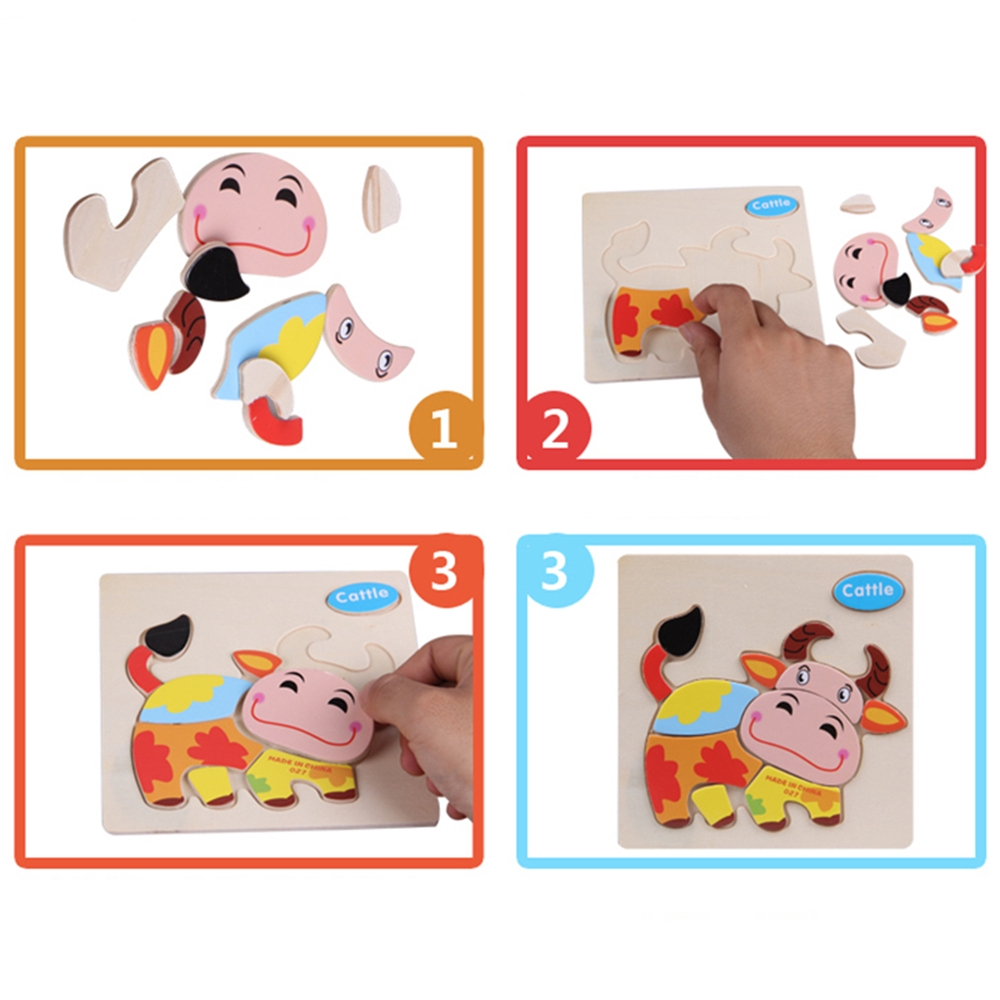 Wood 3D Puzzle For Child Kids Cartoon Animal Puzzles Best Xmas Gift Unique