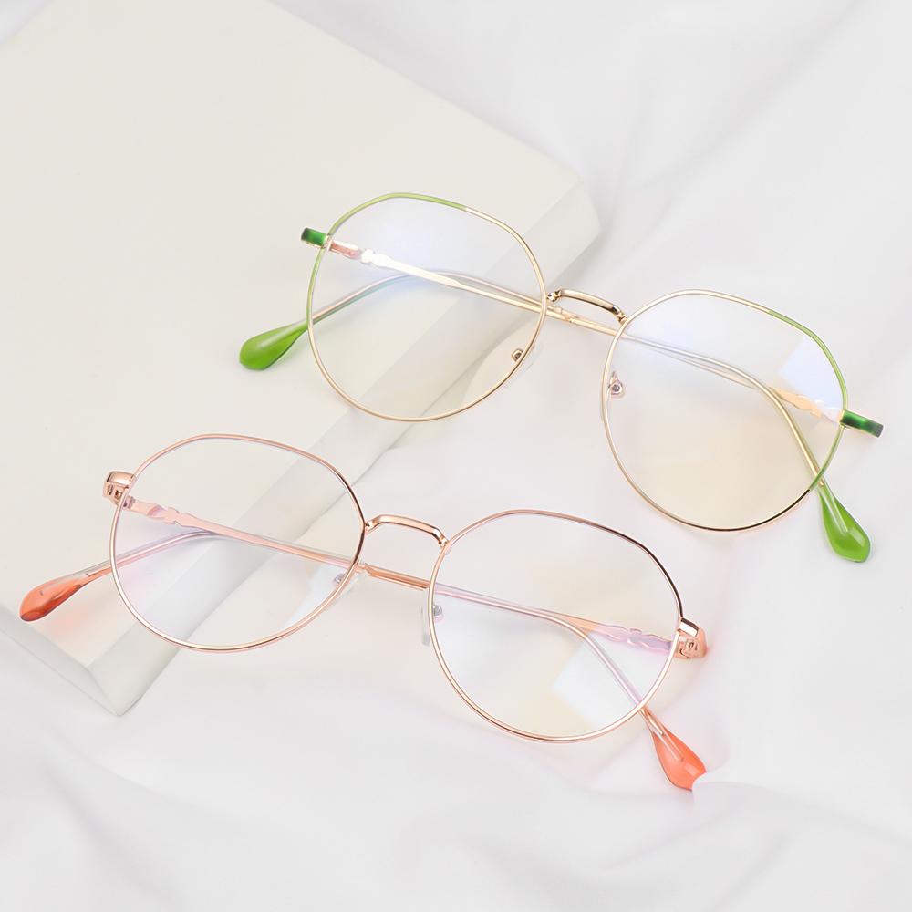💜ZAIJIE💜 Unisex Myopia Glasses High-definition Eyeglasses Flat Mirror Eyewear Reduces Eye Strain Metal Round Frame Ultralight Blue Rays Radiation Anti-UV/Multicolor