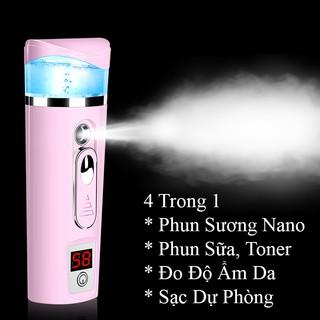 Máy Phun Sương Mini Nano Phun Sữa Tonner Nước Hoa Hồng Kết Hợp Đo Độ Ẩm Da và Sạc Dự Phòng