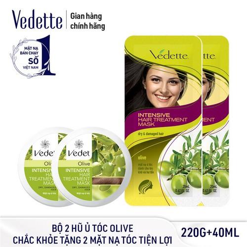 [Tặng 2 Mặt Nạ Tóc Tiện Lợi] Bộ 2 Hũ Ủ Tóc Olive Vedette Chắc Khỏe