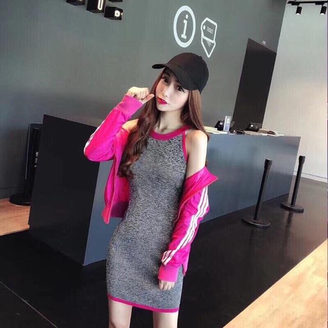 1450978575 - Set đầm body+khoác hồng