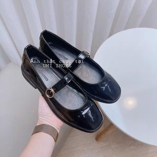 [CÓ SÃN] Giày búp bê nữ da bóng đế đốc 3 phân quai ngang vintage mũi vuông thời trang đơn giản cá tính cute xinh đẹp thumbnail