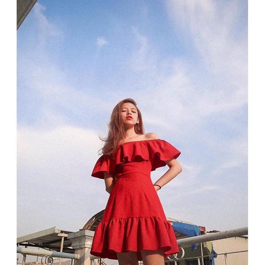 Đầm Xòe Trễ Vai Bèo Ngực Xinh Lung Linh