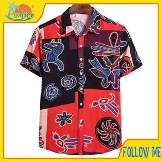 African ethnic style casual short-sleeved men66 áo dài trơn