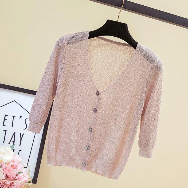 Áo Cardigan màu hồng len mỏng mịn