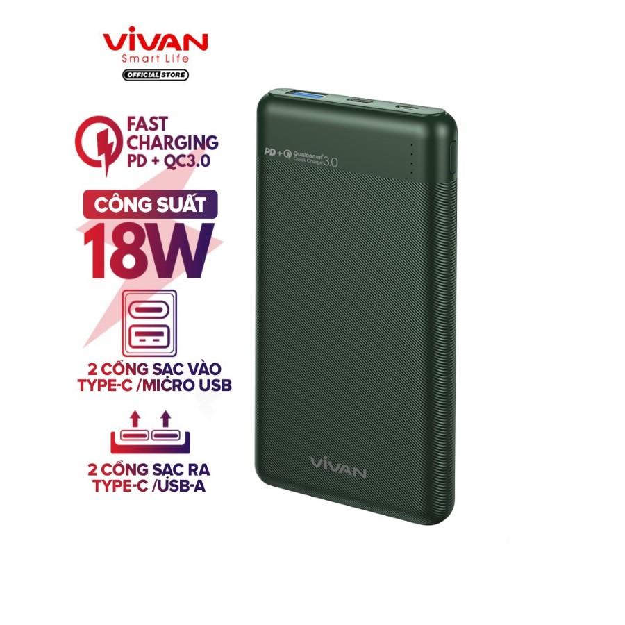 Pin Sạc Dự Phòng 10000mAh VIVAN VPB-M10 Sạc Nhanh Chuẩn PD/QC3.0 18W 2 Output 2 Input - BẢO HÀNH 12 THÁNG 1 ĐỔI 1