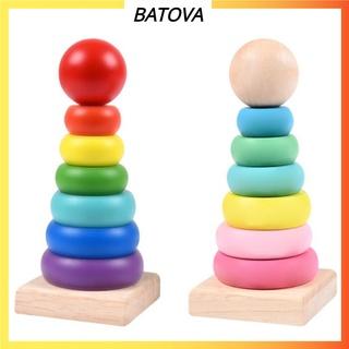 Đồ chơi cho bé tháp cầu vồng 7 màu bằng gỗ cho trẻ từ 1-3 tuổi thông minh trí tuệ hơn BATOVA DG04
