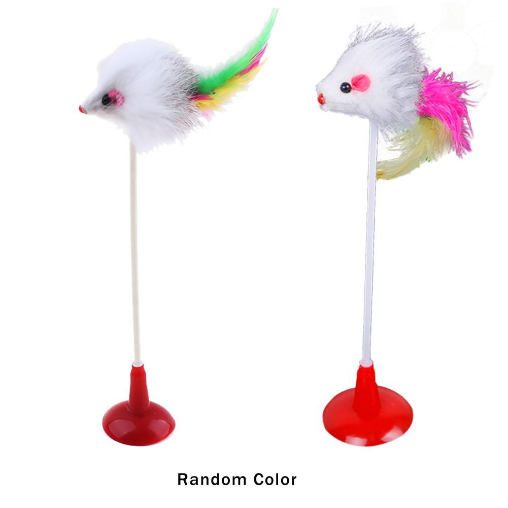 [High] 2pcs Funny Cat Toy Feather Plush Mouse Bottom Sucker for Pet Playing Toys