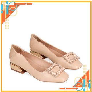 Giày công sở - giày cao gót nữ 3p HT.NEO (3) kiểu dáng mới nhất và cực hot hè 2021, da bò mềm mại, đính hình CS160 thumbnail