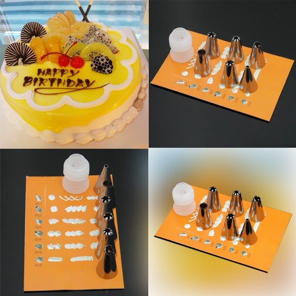 6PCS Flower Mouth Icing Nozzles with Converter Cake Cookie Decorating Tool Amoucese.vn