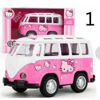 【Mick】 Hello Kitty KT Hot Mini Cartoon Pink Alloy Models Toy Bus