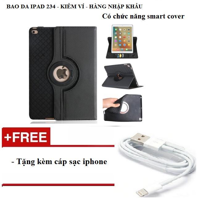 Bao da kiêm ví xoay 360 độ tắt mở màn hình cho ipad 234 tặng kèm cáp sạc iphone - màu đen - 3167567 , 977768485 , 322_977768485 , 295000 , Bao-da-kiem-vi-xoay-360-do-tat-mo-man-hinh-cho-ipad-234-tang-kem-cap-sac-iphone-mau-den-322_977768485 , shopee.vn , Bao da kiêm ví xoay 360 độ tắt mở màn hình cho ipad 234 tặng kèm cáp sạc iphone - màu đ
