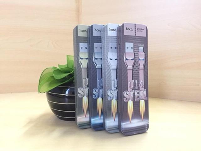 Hoco - Dây Cáp Sạc Micro USB U14 - Có đèn LED - Mặt Nạ Steel Man - 1.2m