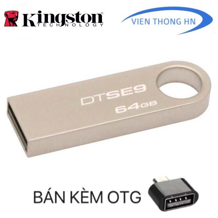 [Nhập ELCLMAY hoàn 30K xu đơn từ 200K]USB Kingston 64GB 2.0 DataTraveler SE9 – BH 5 NĂM LỖI ĐỔI MỚI Giá chỉ 149.000₫