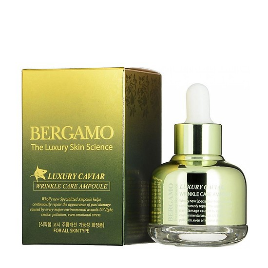 Tinh Chất ngăn ngừa Nám Tàn Nhang Bergamo Luxury Skin Science Luxury Caviar Wrinkle Care Ampoule