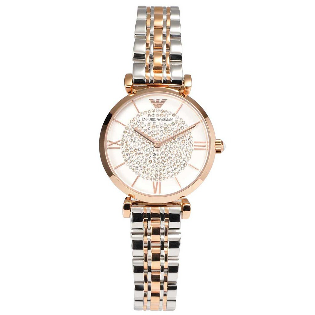 Armani White Crystal Pave Dial Two-tone Ladies Watch AR1926