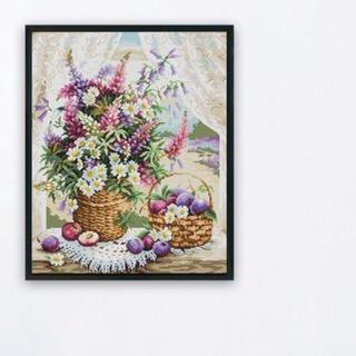 [ Ảnh thật] Tranh thêu chữ thập giỏ hoa bên cửa sổ H882 40*48cm thêu kín