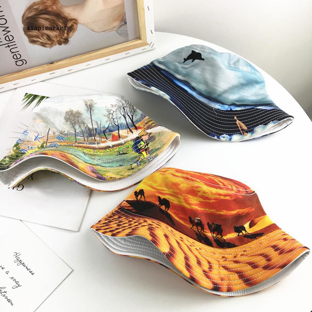 XP_Unique Whale Scenery Camel Snowscape Graffiti Bucket Hat Unisex Sun Visor Cap