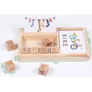 Hộp gỗ từ vựng tiếng Anh cơ bản kèm thẻ hình độc đáo