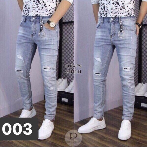 Quần Jean Nam jeans nam rách gối jeans nam body quần jeans nam xước Wash fashionteengroup MS 5679