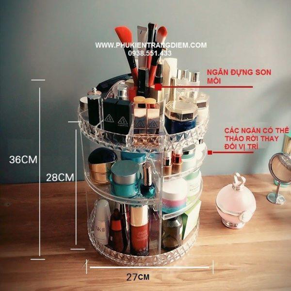 Kệ mỹ phẩm nhựa trong xoay 360 độ