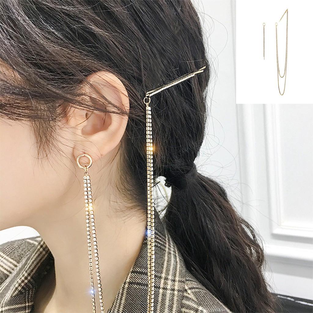 Khuyên tai dáng dài nối kẹp tóc có thể làm ghim cài áo thời trang Hàn Quốc cá tính ấn tượng