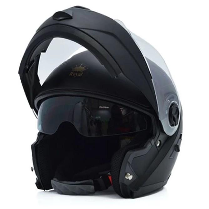 [FU Store]Mũ bảo hiểm   M08 lật hàm 2 kính (Đen nhám)