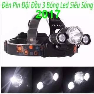 VBC ✔️✔️ đèn pin Đội Đầu 3 Bóng Led T6- Siêu Sáng, Kèm hai Pin, Kèm Sạc 11 12