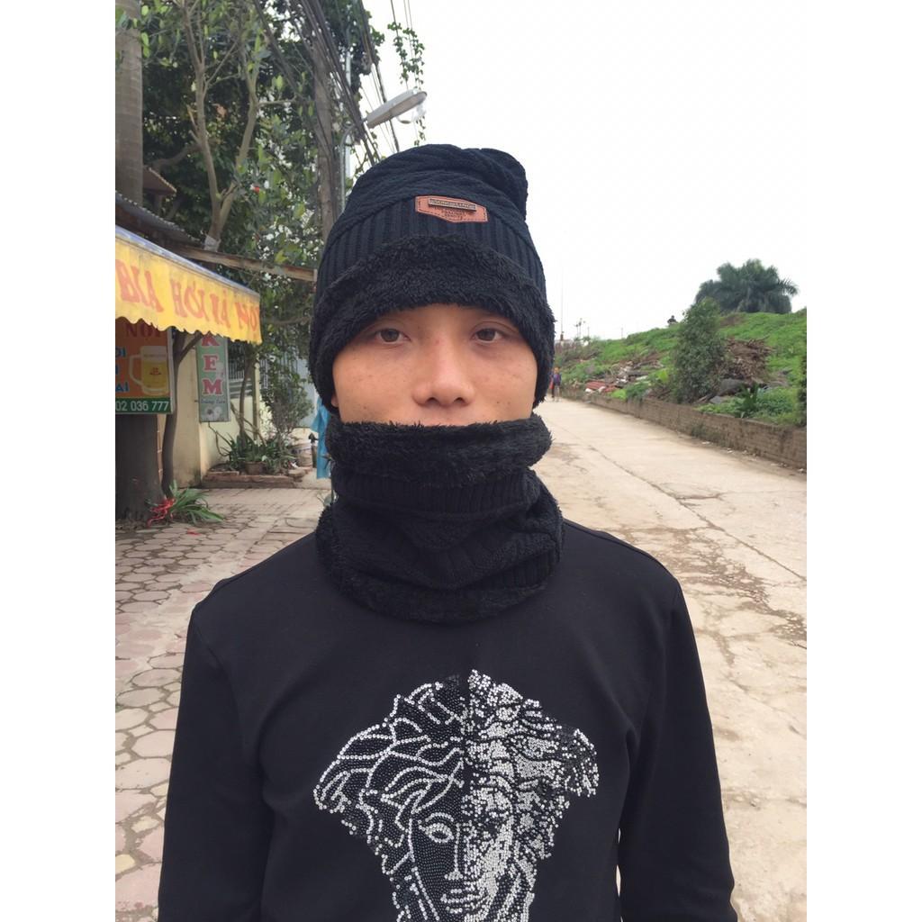 [HOT DEAL] mũ len nam chất đẹp - Mũ Len Lót Lông Kèm Khăn Người Lớn - Hình thật  | HÀNG MỚI