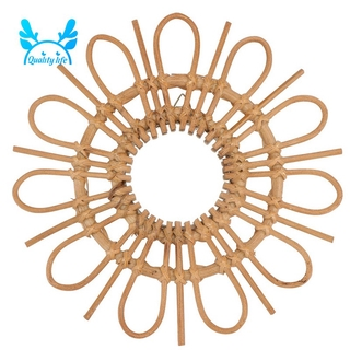 Wood Mirror Round Hanging Wall Mirror Makeup Mirror Decorative Dressing Mirrors for Home Hotel Bathroom Decoration