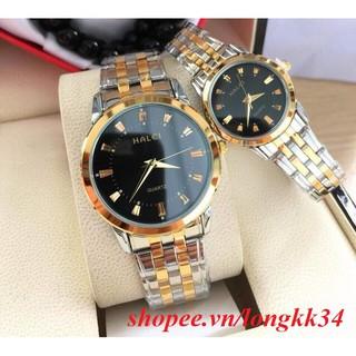 Đồng hồ đôi nam nữ halei 552DM mặt đen dây demi có bán lẻ thumbnail
