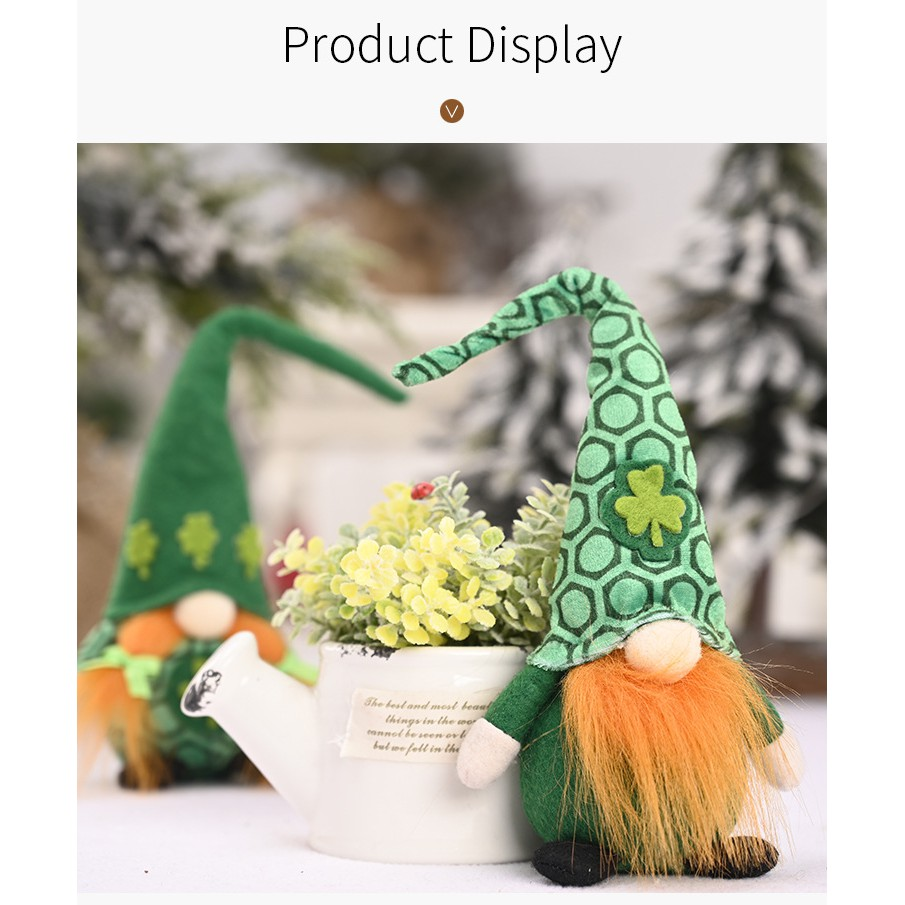 Creative Gnome Of Long Hat Green Leaf Dwarf Ornaments For Desktop Living Room Decor Home Party Decorations Kids Gift Accessories