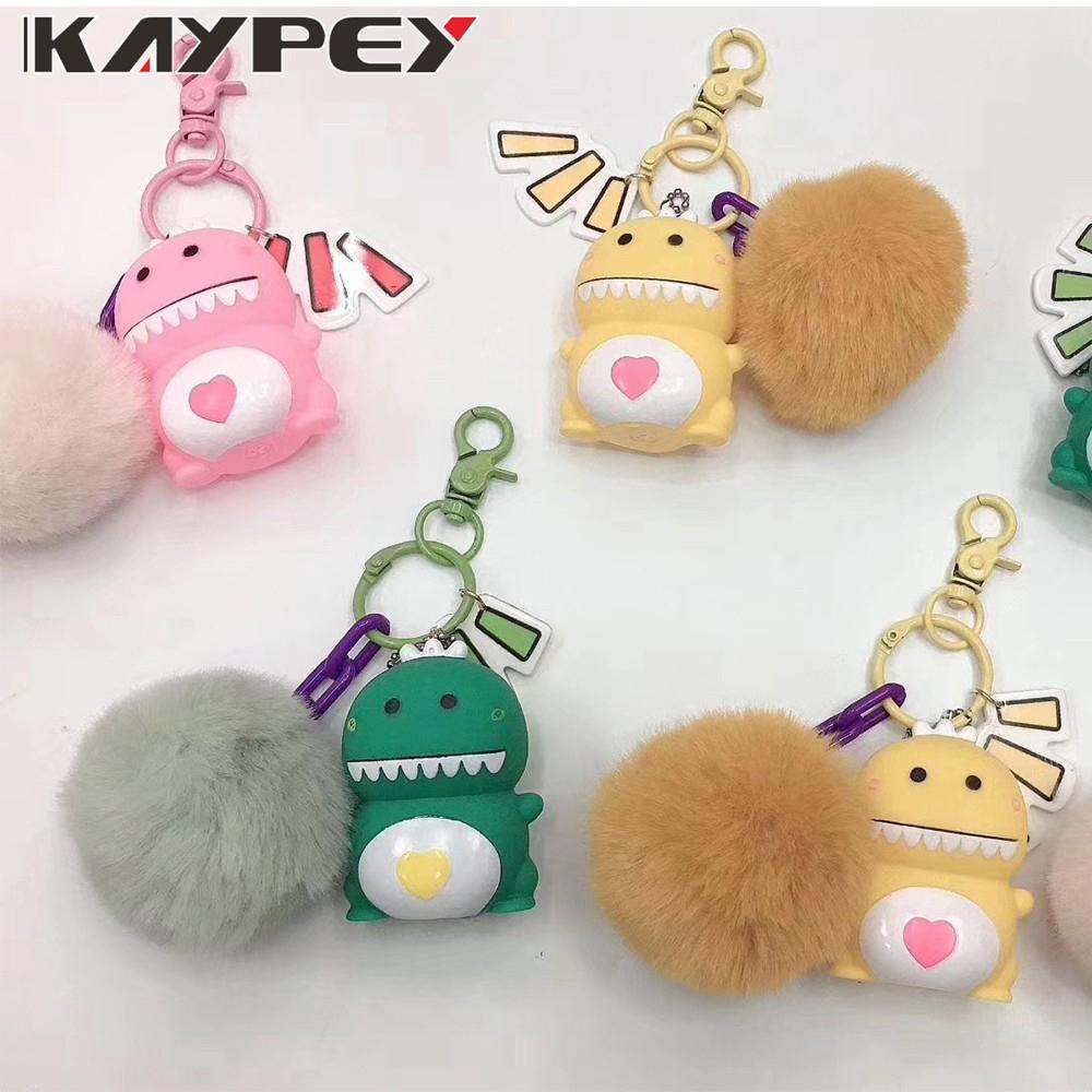 Cute cartoon bear little dinosaur Pikachu Design Key Chain with Lanyard Strap bag ring  airpods ring