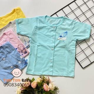 COMBO 5 áo sơ sinh Tay Ngắn Cài Giữa Màu Thái Hà Thịnh - Chất vải cotton 100% mềm, mịn, thoáng mát