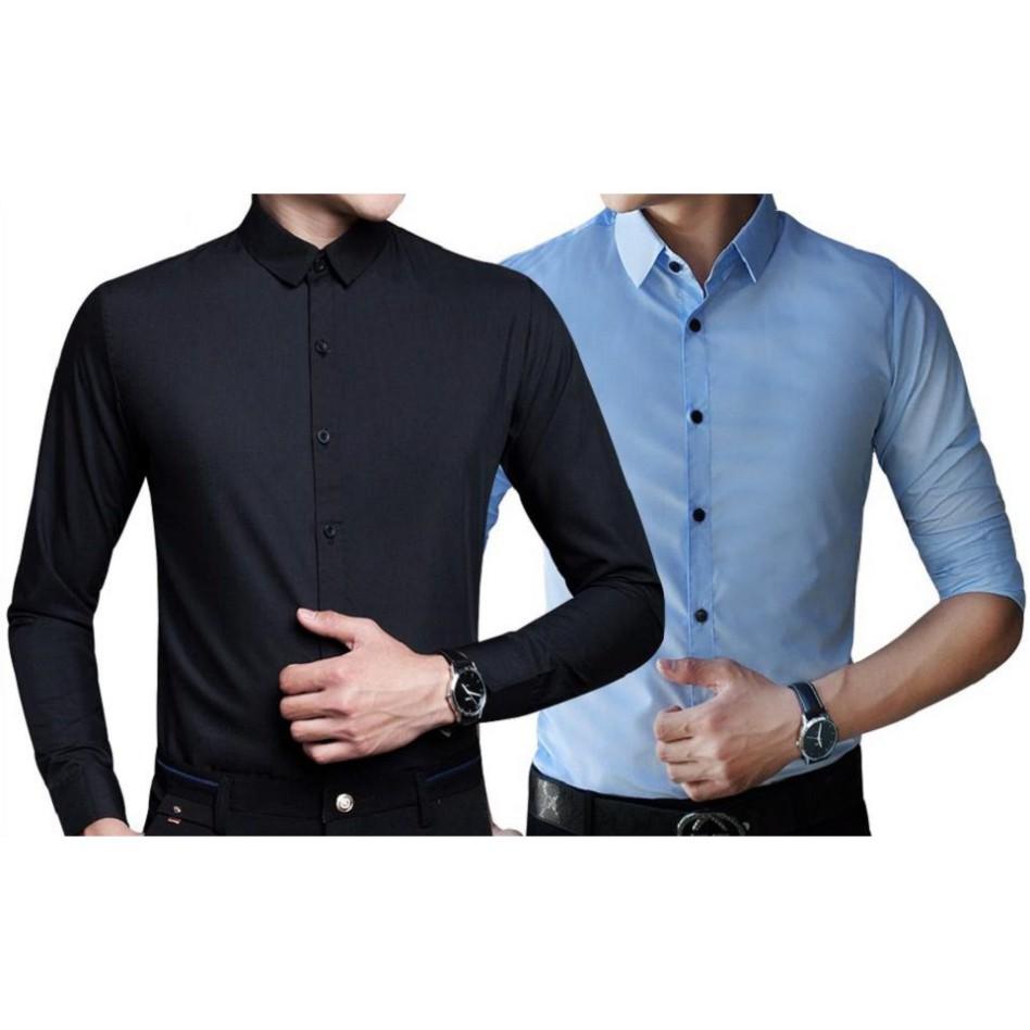 Mặc gì đẹp: Xinh tươi với (FREESHIP 50K) (SIÊU PHẨM) Combo 2 áo sơ mi nam công sở chất liệu cao cấp phong cách Hàn Quốc ELNIDO flasksale