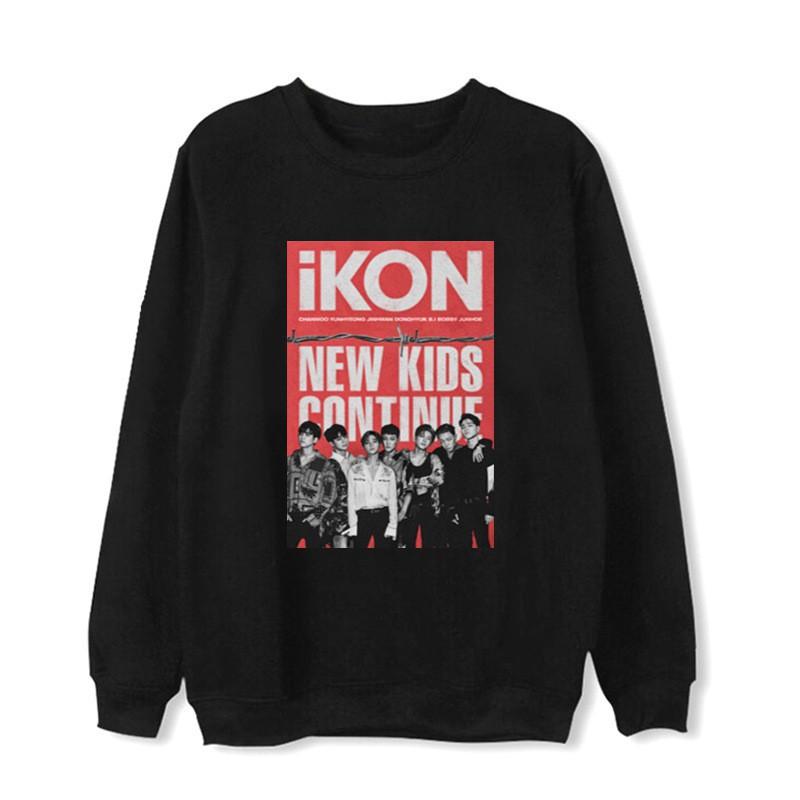 WY799 KPOP IKON 1 Album NEW KIDS CONTINUE Print Cotton Long Sleeve Sweater Sweatshirt