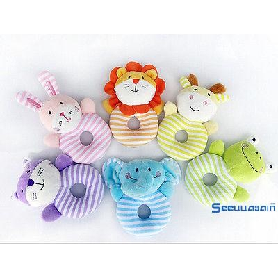 ❆☉❆Cute New Plush Crib Stroller Baby Pram Rattle Hanging Rabbit Bear Bed Bells Rattle Toys Gift