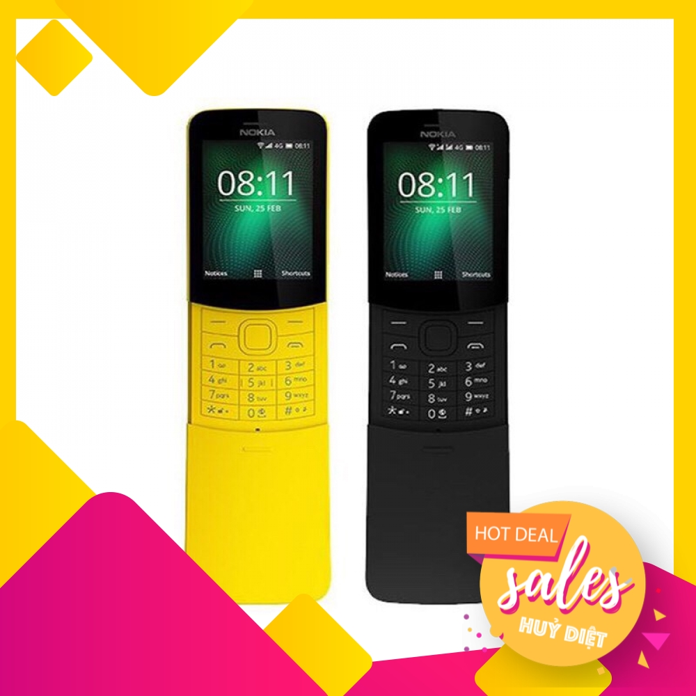 Điện thoại Nokia 8110 4G - Hàng chính hãng - Giá Tốt, Mới 100%, Nguyên Seal, Fullbox, Nắp Trượt - Nokia Chuối Vàng I Đen