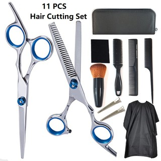 11 Pcs Professional Hair Cutting Scissors, Barber Thinning Scissors Hairdressing Shears Stainless Steel Hair Cutting Shears Set with Cape Clips Comb for Barber and Home