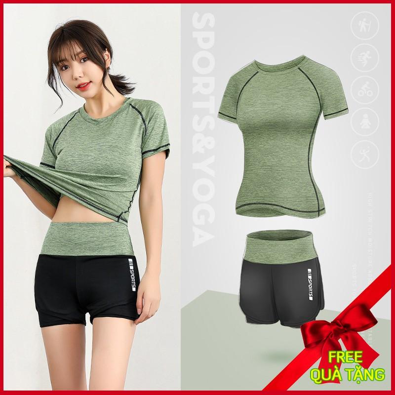 Bộ đồ tập gym nữ Louro FE26, kiểu bộ tập gym nữ ngắn tay, quần shorts nữ 2 lớp, áo tập gym co giãn, thoáng mát