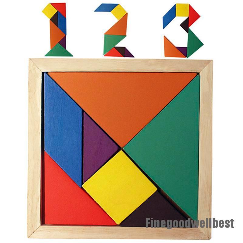 [HappyFB] Tangram Wooden Intelligence Kid Game IQ Puzzle Jigsaw