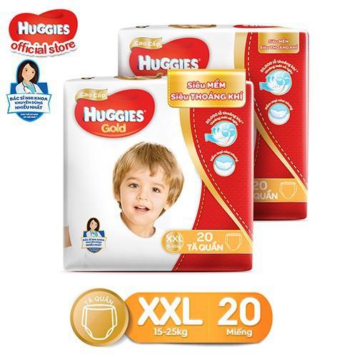 Combo 2 Tã quần cao cấp Huggies GOLD mới M32/L28/XL24/XXL20