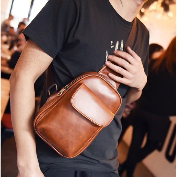 Túi đeo ngực Da PU (hàng order) du lịch đi học siêu bền da ko thấm nước thời trang