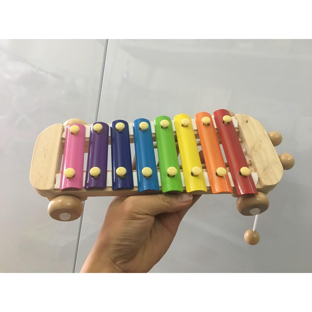 Đàn Gõ 8 Phím Xylophone Cho Bé Phát Triển Năng Khiếu Âm Nhạc Có Bánh Kéo