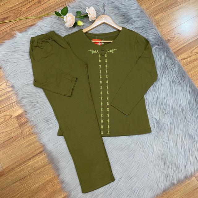 Bộ mặc nhà trung niên thu đông dài tay - quần áo cho mẹ cho bà trung tuổi chất cotton đẹp